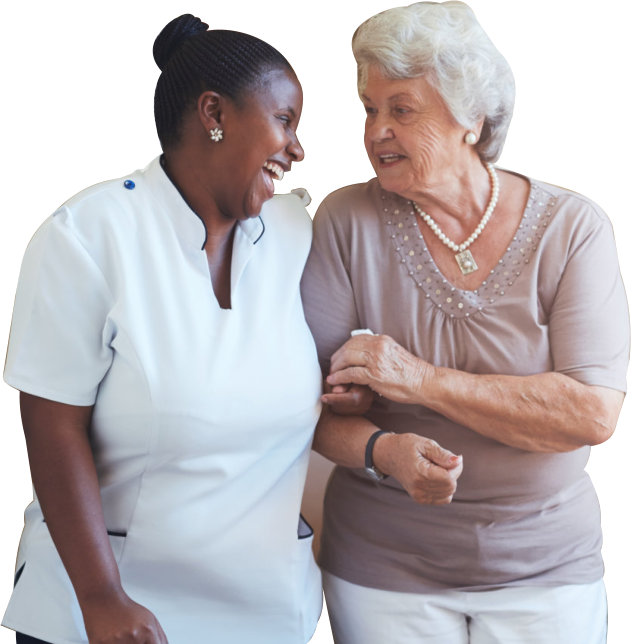 nurse and woman smiling to each other