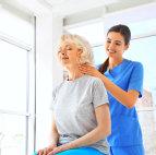 nurse with her senior woman patient