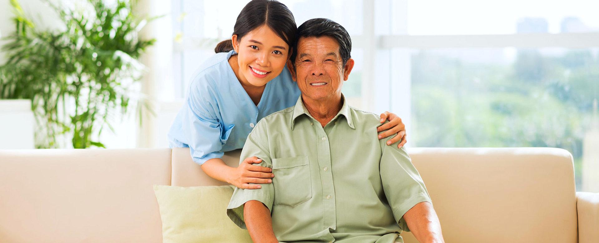 nurse with her senior man patient