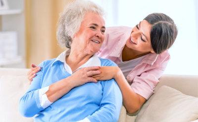 senior woman with nurse