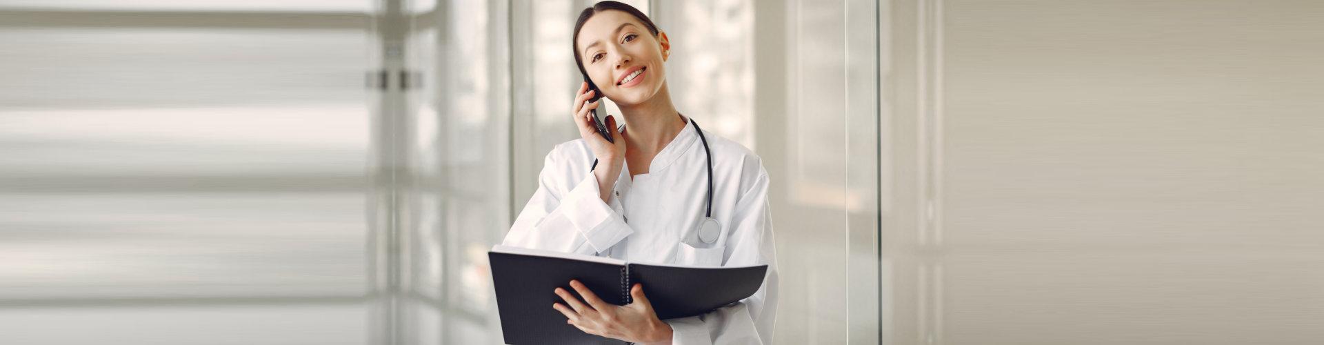 nurse calling to her patient